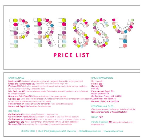 Prissy Nail Bar price list
